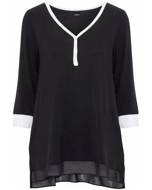 DKNY - Black Chiffon-trimmed Stretch Modal-jersey Pajama Top - Lyst