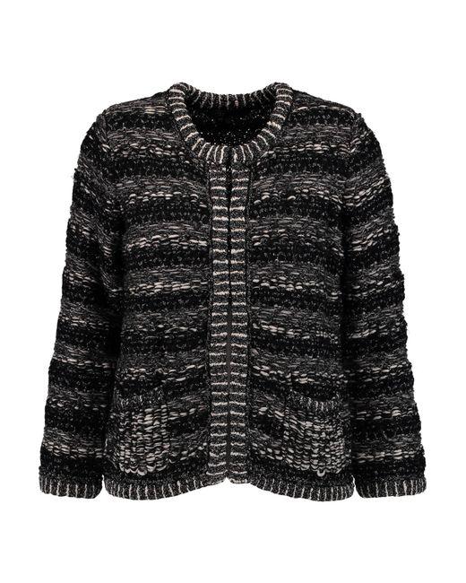 Maje | Black Metallic Bouclé-knit Cardigan | Lyst