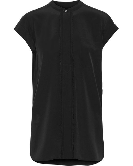 Vince | Black Frayed Silk Top | Lyst