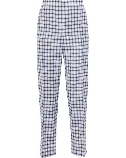 Nina Ricci - Blue Checked Wool-blend Twill Straight-leg Pants - Lyst