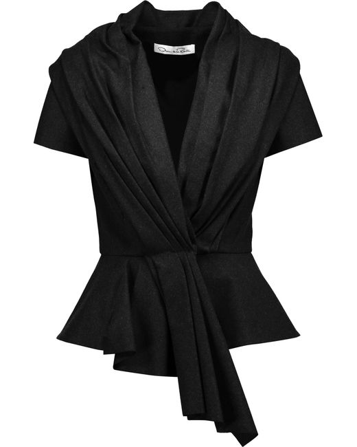 Oscar de la Renta | Black Pleated Wool-blend Peplum Jacket | Lyst