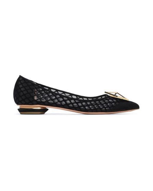 Nicholas Kirkwood - Black Embellished Suede And Mesh Point-toe Flats - Lyst