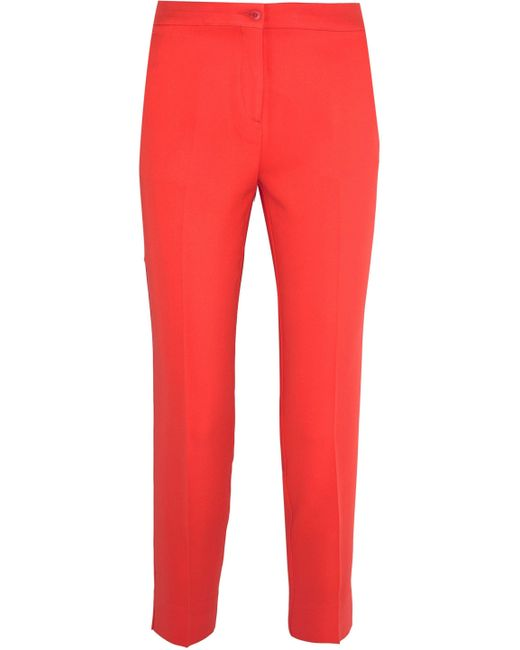 Etro - Red Cropped Crepe Slim-leg Pants - Lyst