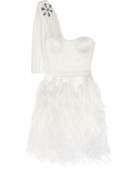 Matthew Williamson - White Feather-trimmed Silk-tulle Mini Dress - Lyst