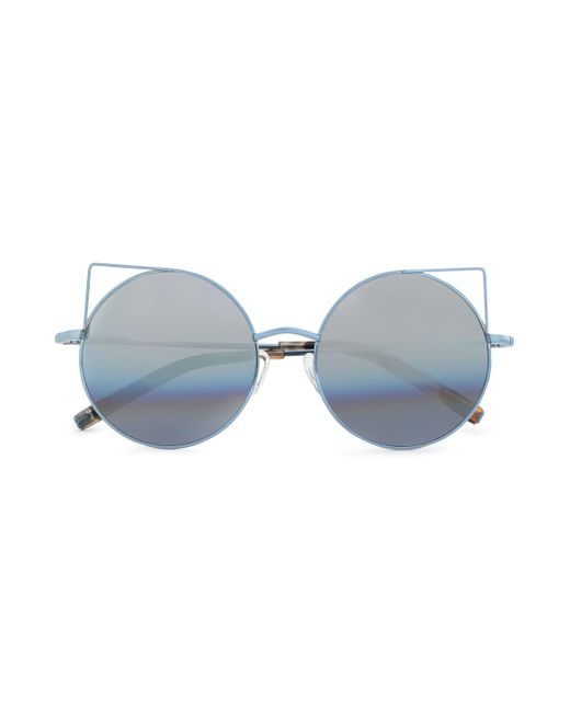Matthew Williamson - Round-frame Metal Mirrored Sunglasses Light Blue - Lyst