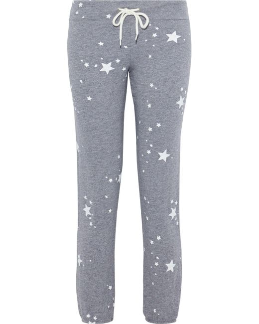 Monrow - Gray Printed Mélange French Terry Track Pants - Lyst