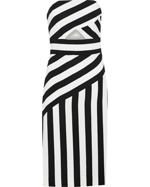 MILLY - White Strapless Cutout Striped Crepe Dress - Lyst