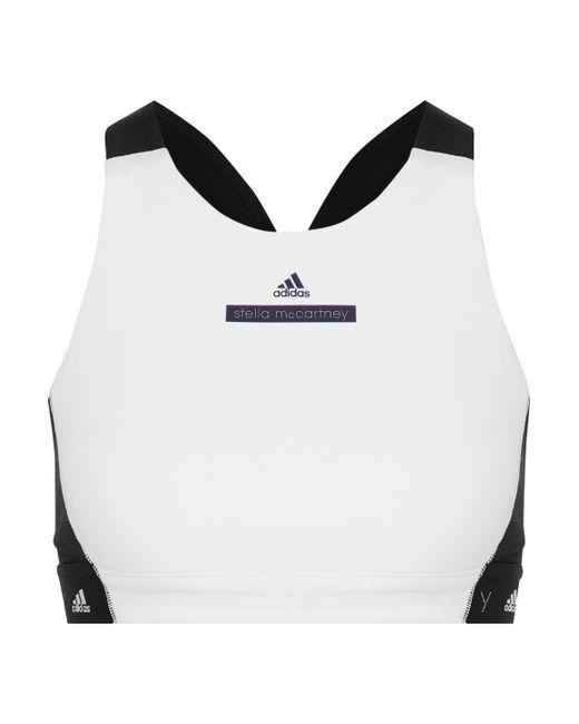 Adidas By Stella McCartney - White Two-tone Stretch Sports Bra - Lyst