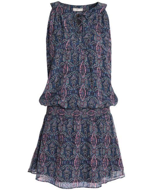 Joie - Blue Shirred Printed Silk-blend Crepe De Chine Mini Dress - Lyst