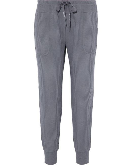 DKNY - Gray Ribbed Cotton-blend Jersey Pajama Pants - Lyst