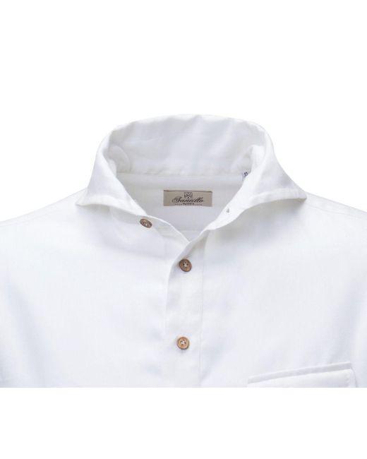 07c83c771 santillo-1970-white-White-Cotton-And-Cashmere-Deep-Placket-Polo-Shirt.jpeg