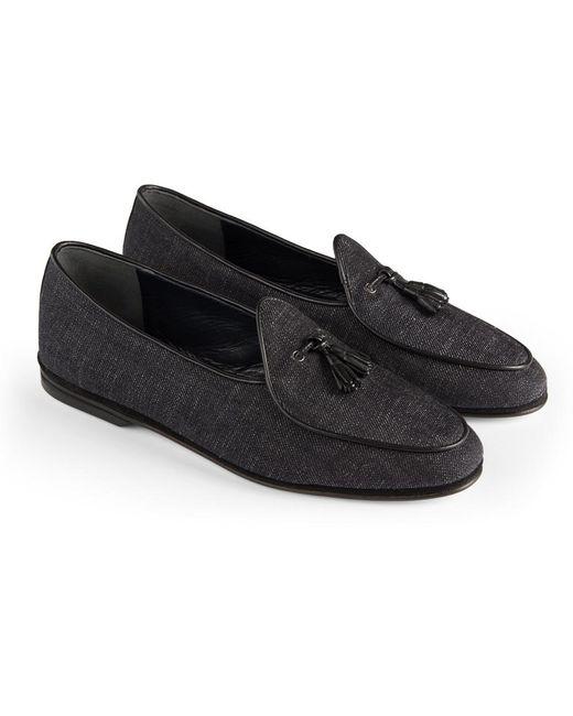 Rubinacci - Black Denim Marphy Suede Loafers - Lyst