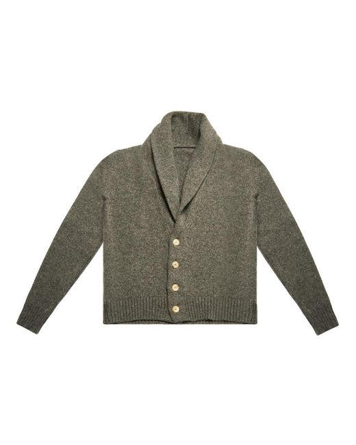 Anderson & Sheppard - Gray Grey Shawl Collar Lambswool Cardigan for Men - Lyst