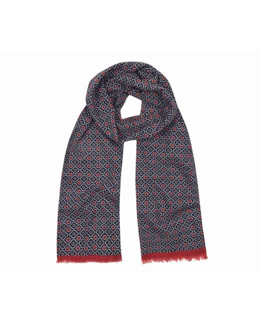 Anderson & Sheppard - Blue Navy And Red Tubular Cotton Mosaic Scarf for Men - Lyst