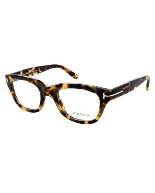 a2bc45e44e2 Tom Ford - Black And Yellow Tortoiseshell Square Frames With Clear Lenses  Eyewear Ft5178 055 for