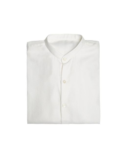 Anderson & Sheppard - White Collarless Cotton And Cashmere Shirt for Men - Lyst
