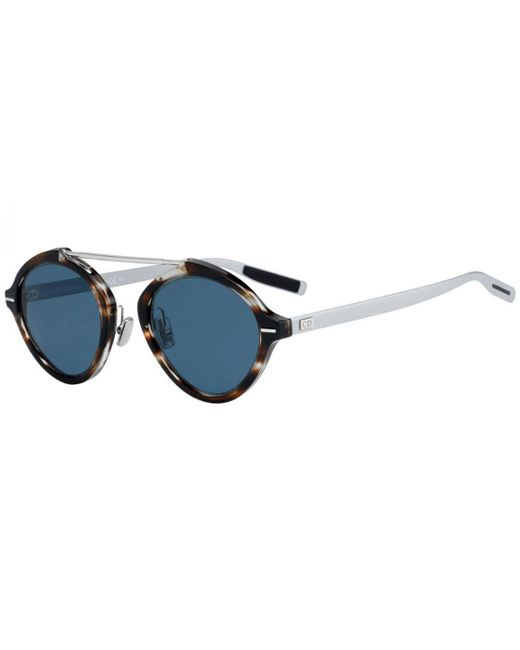 ee3f25c5fe090 Dior Homme - Metallic Dior System Tortoiseshell And Silver Frames With Blue  Lenses Sunglasses 9g0