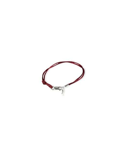 Rubinacci - Metallic Bordeaux And Silver Pendant Silk Bracelet for Men - Lyst