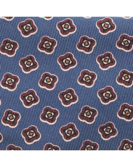 Dusty Blue and Bordeaux Abstract Flower Silk Tie Rubinacci uN72blQ