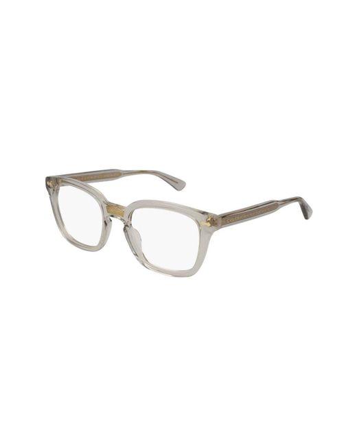 f066fa501a901 Gucci - Metallic Clear Acetate And Silver Metal GG0184O-005 Square Optical  Glasses for Men