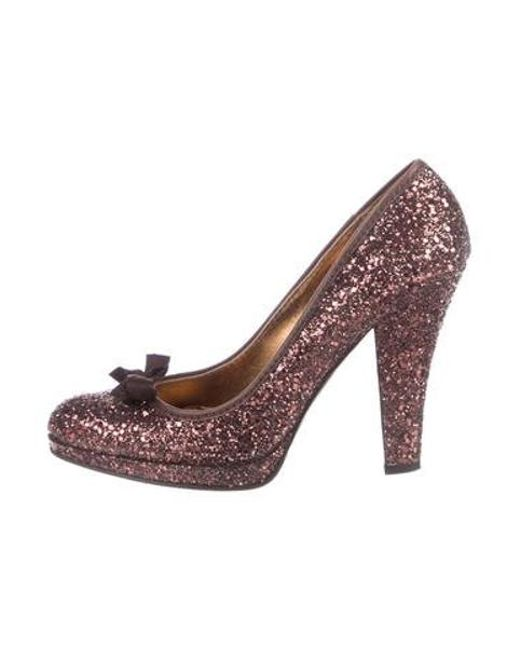 203f58311590 Miu Miu - Brown Miu Glitter Round-toe Pumps - Lyst ...
