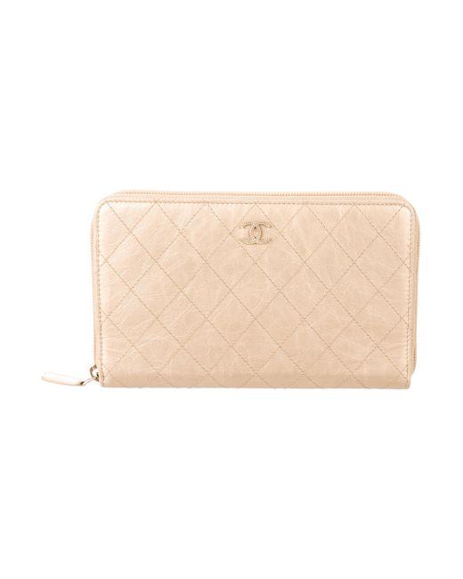 Chanel - Metallic Calfskin Travel Organizer Wallet Gold - Lyst