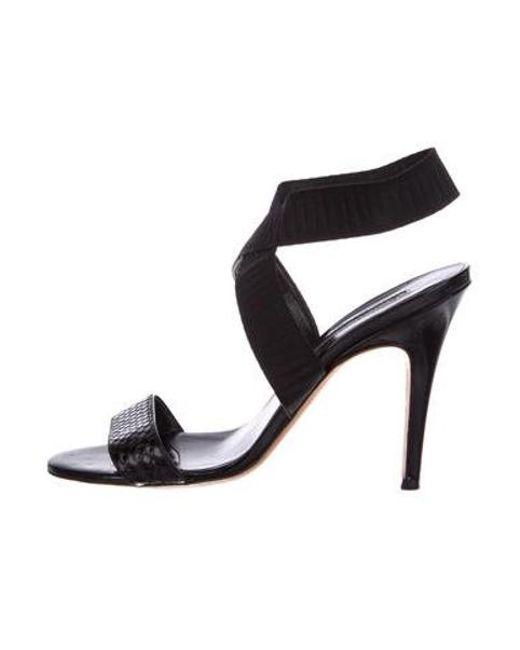 b7c59caaa57e Manolo Blahnik - Black Snakeskin Ankle Strap Sandals - Lyst ...