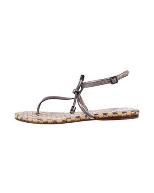 0cf9f8717 Tory Burch - Metallic Patent Leather Thong Sandals Silver - Lyst ...