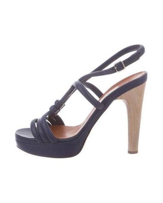 37c321af38c Lanvin - Blue Leather Strappy Sandals - Lyst ...