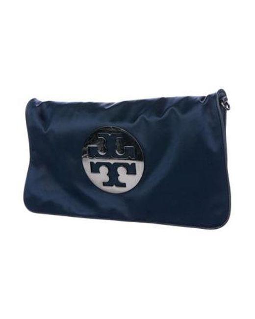 7ef12fb9c4f5 ... Tory Burch - Natural Satin Logo Chain-link Bag Navy - Lyst ...