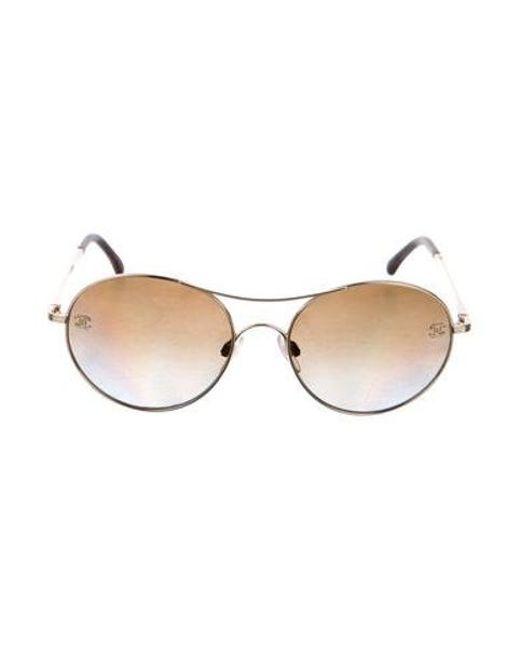 6839b45ae552 Chanel - Metallic Pilot Aviator Sunglasses Gold - Lyst ...