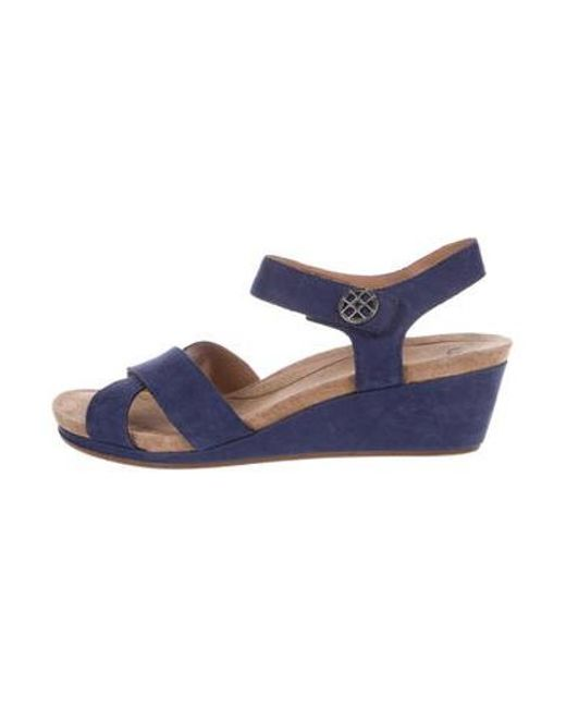 66ac93e7a868e Ugg - Blue Suede Wedge Sandals Navy - Lyst ...