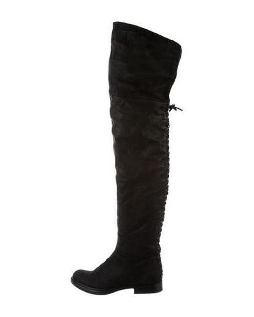 c75eb4f6159a Miu Miu - Black Miu Leather Over-the-knee Boots - Lyst ...