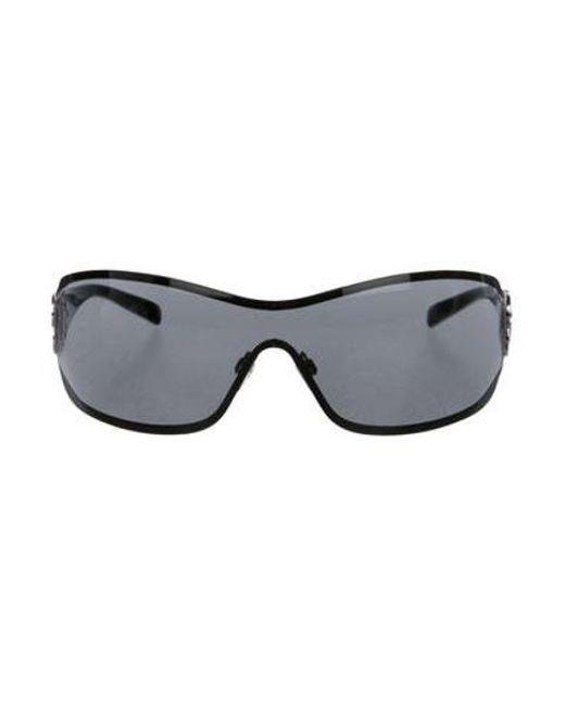 553aece480f ... Lyst Chanel Strass Camellia Sunglasses in Black