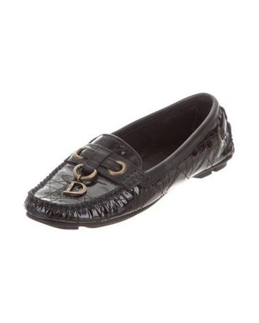 82f332acbba ... Dior - Metallic Cannage Patent Leather Loafers Black - Lyst ...