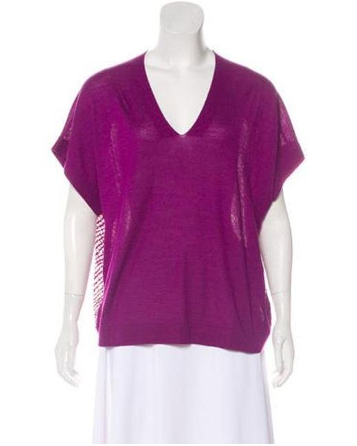 c6b5b5e432d87 Derek Lam - Purple Cashmere   Silk-blend V-neck Blouse - Lyst ...