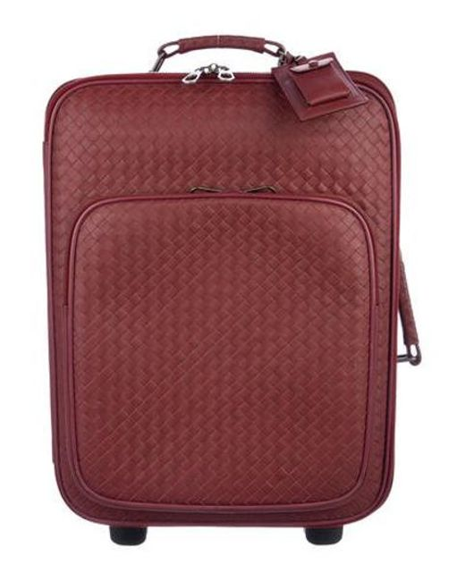2dbb63b68d Bottega Veneta - Red Intrecciato Leather Trolley Burgundy for Men - Lyst ...