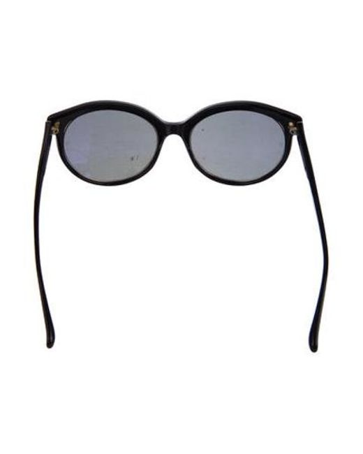 8a8904a644 ... Linda Farrow - Metallic Oversize Cat-eye Sunglasses Black - Lyst ...