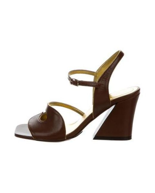 33ed2b0dbbc Dries Van Noten - Brown Leather Ankle Strap Sandals W  Tags - Lyst ...