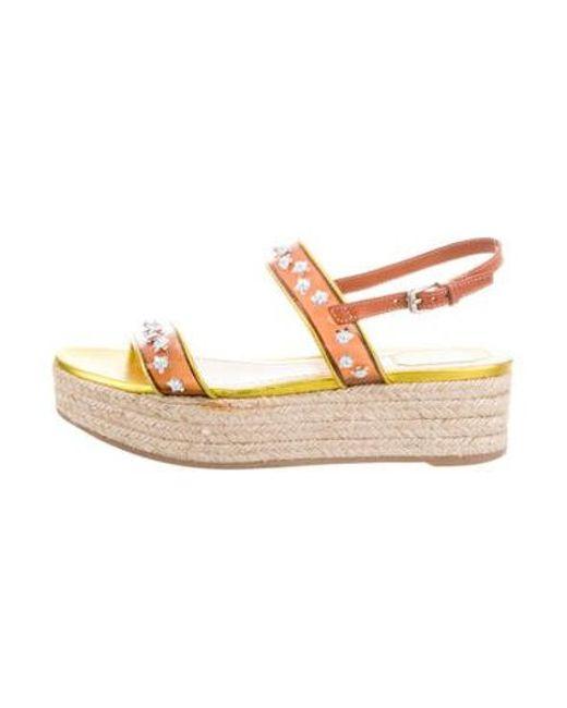 f4b7ac79fcb Dior - Metallic Embellished Flatform Sandals - Lyst ...