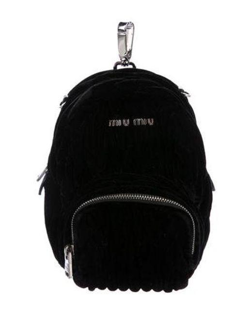 2b881f4ba90e Miu Miu - Metallic Miu Mini Matelassé Velvet Backpack Crossbody Bag Black -  Lyst ...