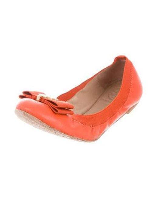 8f090ad4dcbad2 ... Tory Burch - Metallic Sedgewick Ballet Flats Orange - Lyst ...