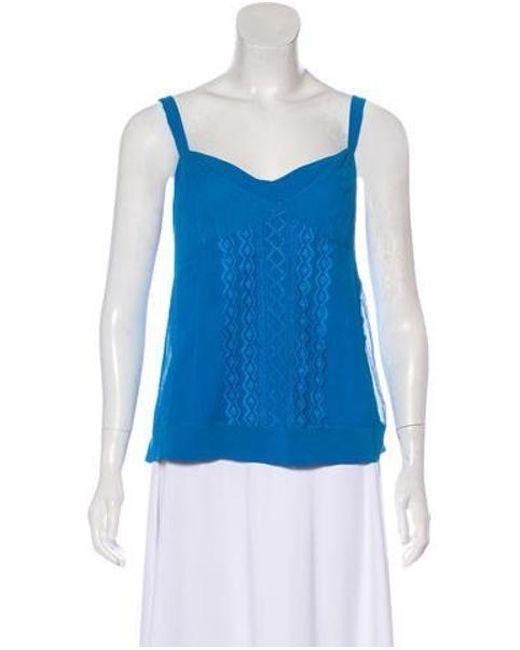2fe6b93ff663b Diane von Furstenberg - Blue Embroidered Silk Top - Lyst ...