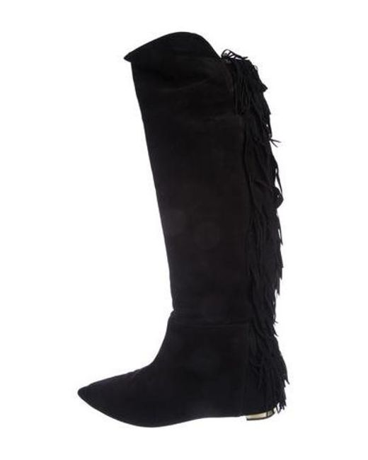 452c35268d0 Aquazzura - Black Suede Fringe Knee-high Boots - Lyst ...
