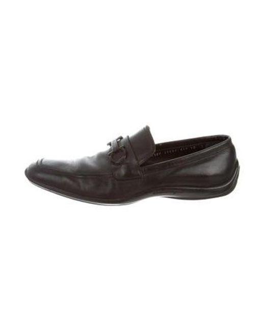 Lyst Ferragamo Leather Gancini Loafers In Black For Men