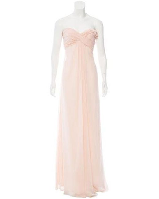 Monique Lhuillier Bridesmaids - Blue Strapless Flower Detail Gown W/ Tags - Lyst