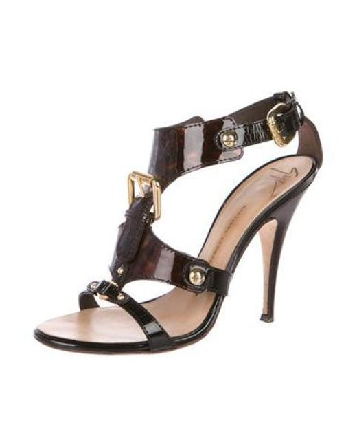 3da34edd8339 ... Giuseppe Zanotti - Brown Patent Leather Caged Sandals - Lyst ...