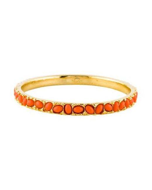 Kenneth Jay Lane - Metallic Resin Coral Cabochon Bracelet Gold - Lyst