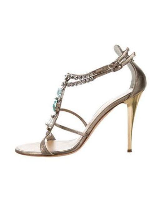 b9cf0f36ef9e Giuseppe Zanotti - Metallic Jewel-embellished Ankle Strap Sandals Gold -  Lyst ...