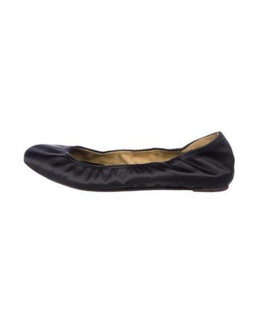 d8443949d9a Lanvin - Gray Satin Ballet Flats - Lyst ...